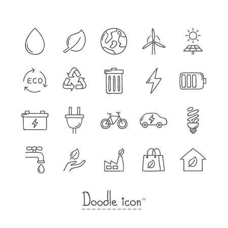 Hand Drawn environmental  Doodle Icon Set.