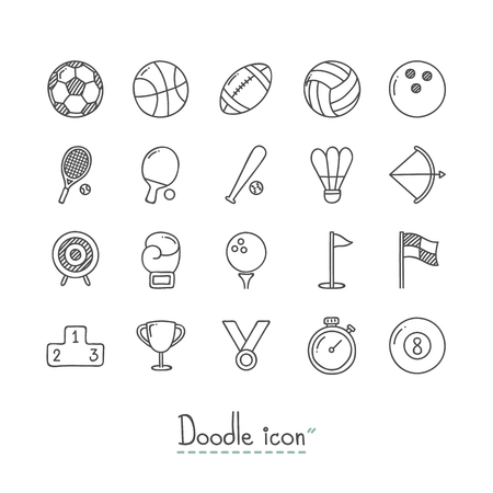Hand Drawn sports doodle Icon Set.