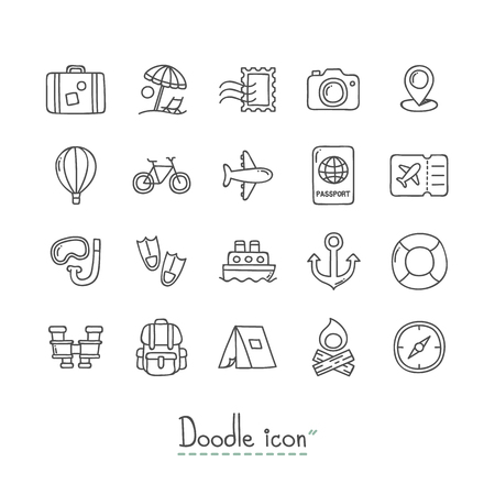 Hand Drawn travel Doodle Icon Set.
