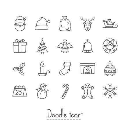 手描きのクリスマスアイコンセット。  イラスト・ベクター素材