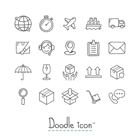 Hand Drawn logistics Icon Set.
