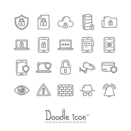 Hand Drawn technology icon Set.