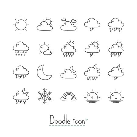 Hand Drawn weather Icon Set. Stock Vector - 96597451