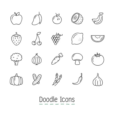 Doodle Fruits And Vegetable Icons. Фото со стока - 118382314