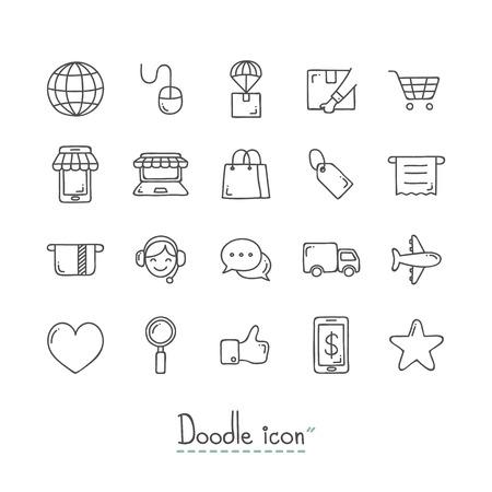 Doodle E-Commerce-Symbole. Vektorgrafik