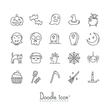 Doodle Halloween Icon Set. Çizim
