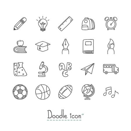 Di nuovo a scuola. Insieme dell'icona di Doodle disegnato a mano.