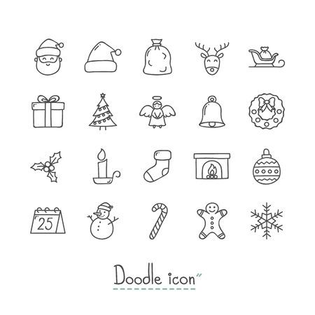 Icônes de Noël de griffonnage Vecteurs