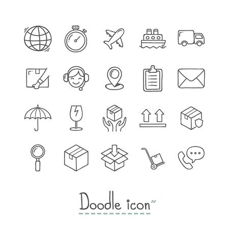 Doodle Logistics Icons Stock Illustratie