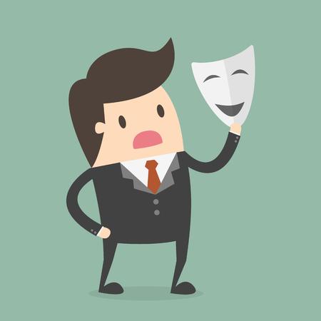 Hombre de negocios con máscara blanca. Concepto de fraude.