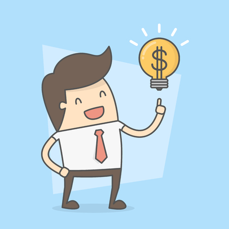 Businessman With Idea To Make Money. Business Concept Illustration.