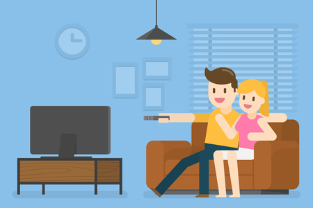 Young Couple Watching Television At Home. Vector Illustration Concept Of People Lifestyle. Archivio Fotografico - 118382418