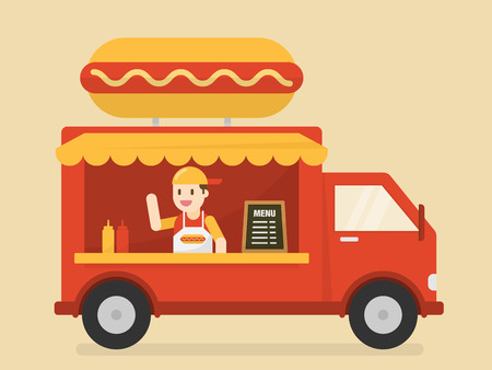 Street Food Van. Fast Food Delivery. Illustration
