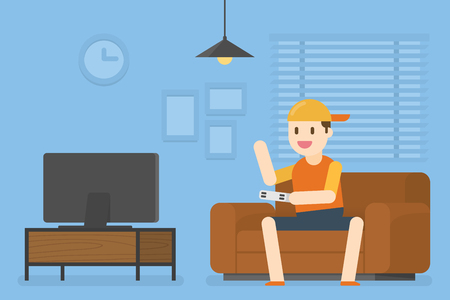 Little Boy Playing Video Game. Vector Illustration Concept Of People Lifestyle.
