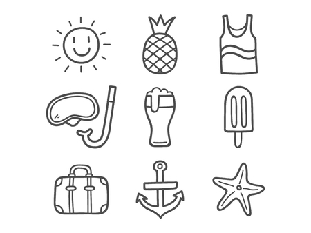 Summer Doodle Icons. Hand Drawn Doodle Icons. Illustration