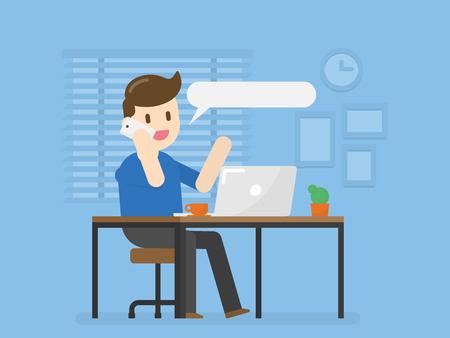 Młody Człowiek W Home Office Rozmawia Przez Telefon. Wektor ilustracja koncepcja stylu życia ludzi.