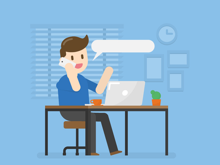 Young Man In Home Office Talking On Phone. Vector Illustration Concept Of People Lifestyle.