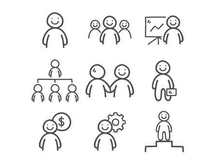 Doodle Business People Icons. Hand Drawn Icon Set.