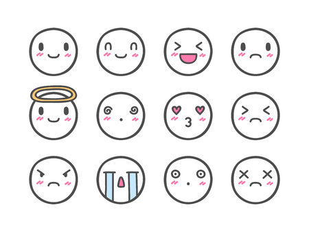 Doodle Emoticons. Hand Drawn Icon Set.