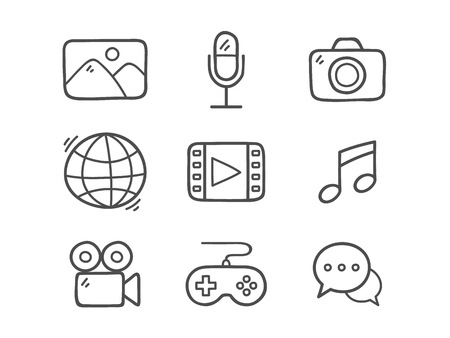 Doodle Multimedia Icons. Hand Drawn Icon Set.