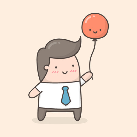 Young man holding red balloon. Cute cartoon illustration.
