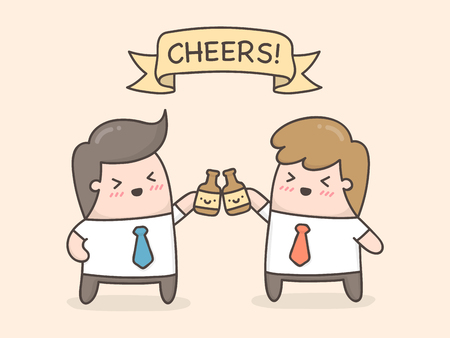 Cheers! Two hands holding two beer bottles. Cute cartoon illustration.