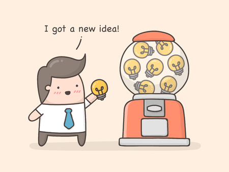 New idea concept.  Cute cartoon illustration.