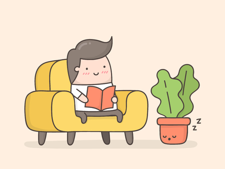 Young man reading a book in cozy living room. Cute cartoon illustration.