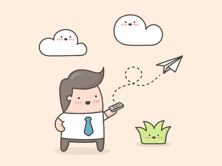 Envío de correo electrónico. Ilustración de dibujos animados lindo doodle.