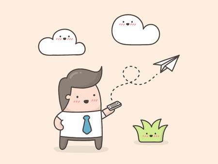 Envoi de courrier électronique. Illustration de dessin animé mignon doodle.
