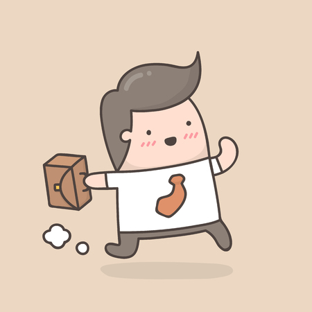 Businessman running with briefcase. Cute cartoon doodle illustration.