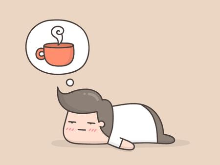 Assonnato. Illustrazione di doodle sveglio del fumetto. Vettoriali