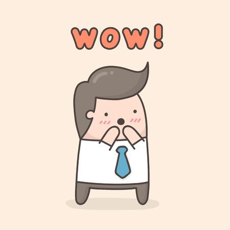Excited man. Cute cartoon doodle illustration.