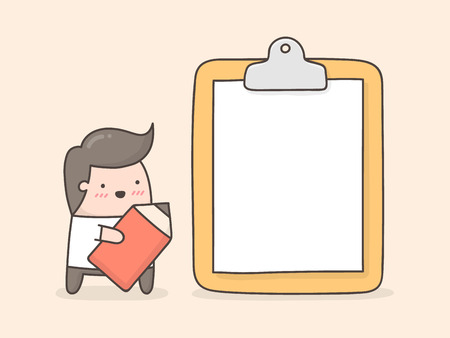 Little man with blank paper on clipboard. Illustration