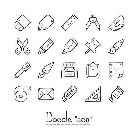 Cute stationery icons. Ilustração