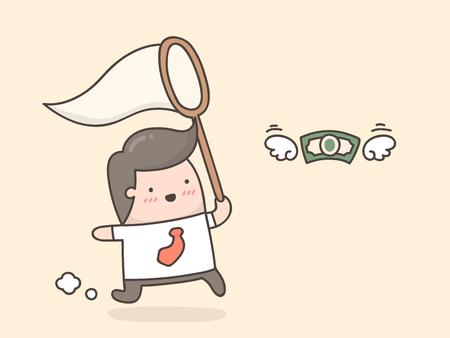 Homme d'affaires essayant d'attraper de l'argent. Vecteurs