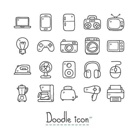 Thuis apparaten. Leuke doodle pictogrammen.
