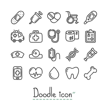 Medical. Cute doodle Icons. 矢量图像