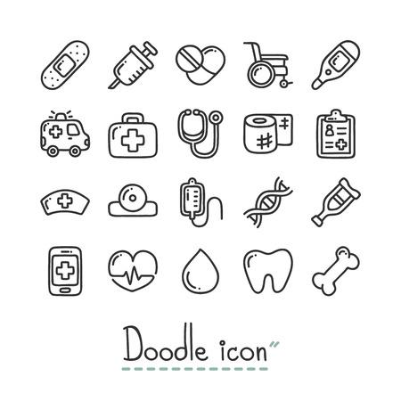 Medizinisch. Nette Gekritzel-Icons.