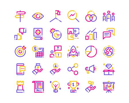 Tri-color line business icons. Foto de archivo - 121251643