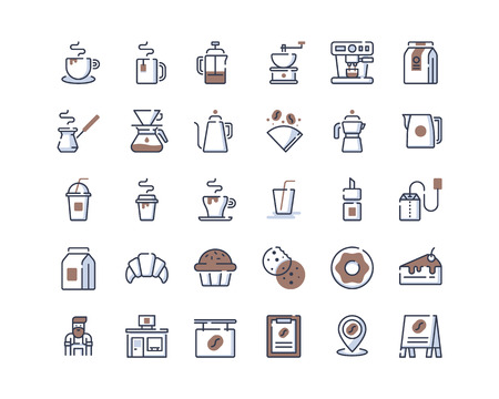 Color-line coffee shop icons Banco de Imagens - 124042474