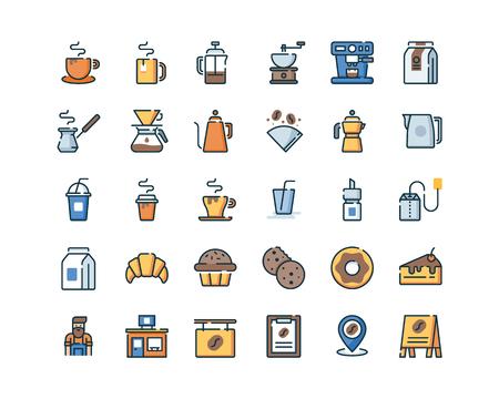 Gevulde omtrek koffie pictogrammen.