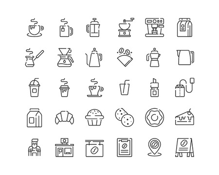 Line coffee icons.