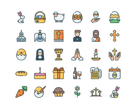 Colección de símbolos de Pascua.