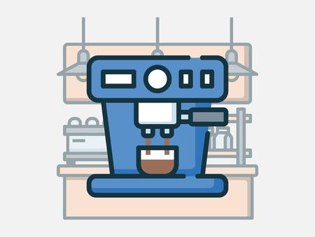 Coffee shop elements vector illustration. Ilustração