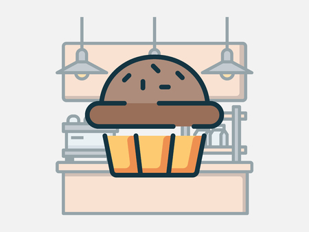 Coffee shop elements vector illustration. Çizim