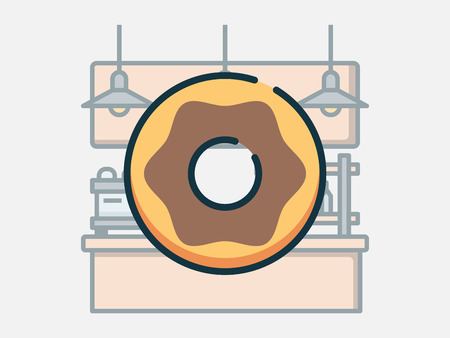 Coffee shop elements vector illustration. Иллюстрация