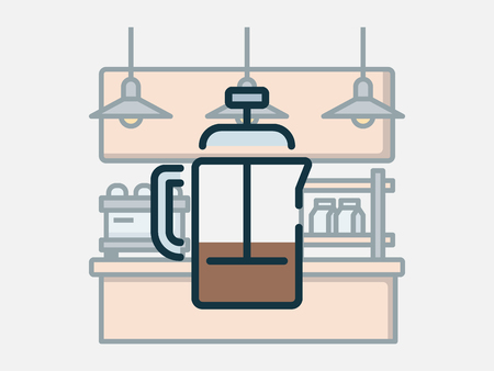 Coffee shop elements vector illustration. Imagens - 123969408