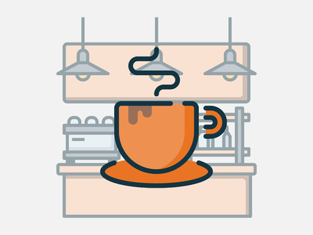 Coffee shop elements vector illustration. Ilustrace