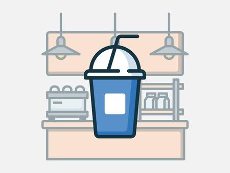 Coffee shop elements vector illustration. Ilustrace